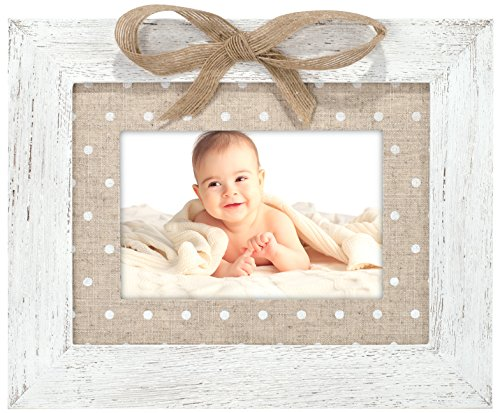 Malden International Designs Burlap Dots With Printed Burlap Mat and Bow, Wood Picture Frame, 4x6/6x8, - Polka Dot Frame