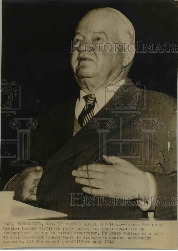 Historic Images -1949 Press Photo Herbert Hoover testifying Before House Committee, Washington