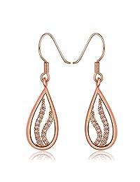 YLR 18K Rose Gold Plated Shiny Zircon Teardrop Charm Women Rhinestone Jewelry Dangle Drop Earrings