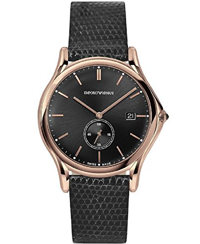 Emporio Armani Swiss Made Men's Swiss Quartz Stainless Steel and Leather Dress Watch, Color:Grey (Model: ARS1003)