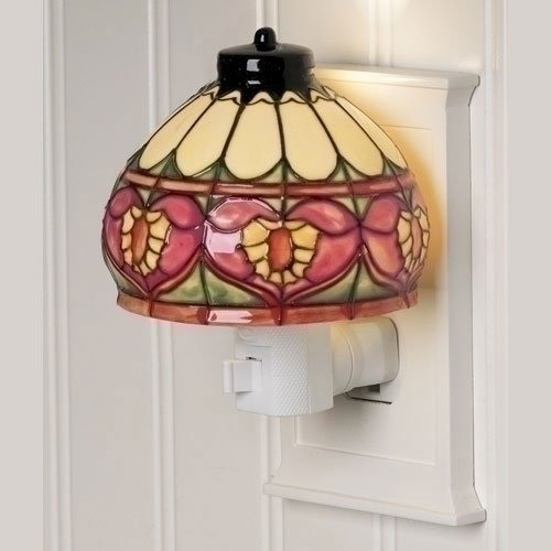 Style Elegant Heart (Heart Craftsman Style Stained Glass Look 4 inch Ceramic Plug-in Nightlight)