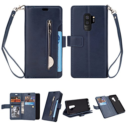 FLYEE Samsung S9 Plus Case,Galaxy S9 Plus Wallet Case, 10 Card Slots Premium Flip Wallet Leather Magnetic Case Purse with Zipper Coin Credit Card Holder Cover for Samsung Galaxy S9 Plus Blue