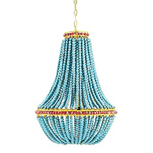 Creative Co-op Blue & Red Wood Beaded Chandelier with Yellow Accents