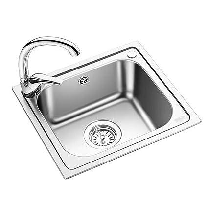 Kitchen Sinks Kitchen sink Household small single slot 304 stainless steel sink 1 bowl Kitchen Sink u0026 Waste (Color  Silver Size  433916cm) - - Amazon.com  sc 1 st  Amazon.com & Kitchen Sinks Kitchen sink Household small single slot 304 stainless ...