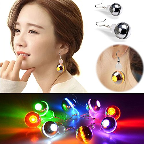 [IC ICLOVER 1 Pair Round Shaped Led Earrings Drop Glowing Earrings Light Up Toy for Christmas Party Holidays Gift -] (One Night Stand Costume For Girls)