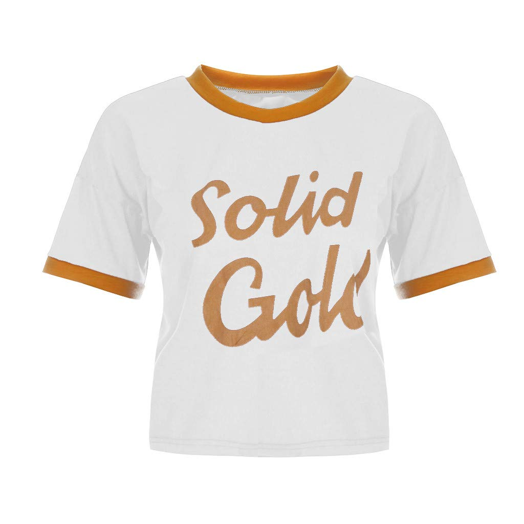Duseedik Women's Summer Tops Color Matching T-Shirt Round Neck Short Sleeve Loose Printed Letter T-Shirt Tunic White