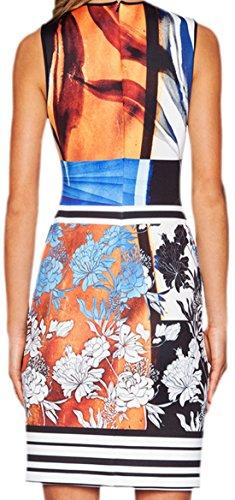 erdbeerloft - Damen Schönes, enges Schlauchkleid mit auffälligem Print, 36-40, Orange