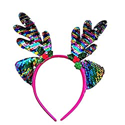 Christmas Headband With Colored Sequins Antlers