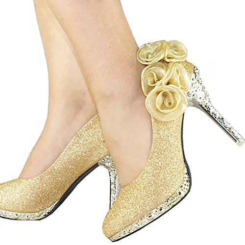 Sequin High Heel Shoes - getmorebeauty Women's Gold Sequin Rose Lace Flower Dress High Heel 9 B(M) US