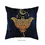VROSELV Custom Cotton Linen Pillowcase Psychedelic Mystic Alchemy Symbol Hidden Sign of Universe Holy Science Artful Image for Bedroom Living Room Dorm Petrol Blue Apricot Earth Yellow 26''x26''