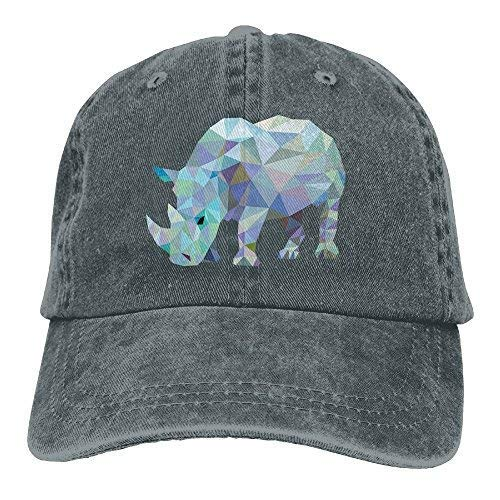 Rhinoceros Denim Baseball Caps Hat Adjustable Cotton Sport Strap Cap for Men Women Asphalt ()