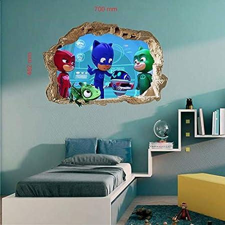 PJ Masks - Adhesivo decorativo para pared (tamaño grande), diseño de recámara de niños