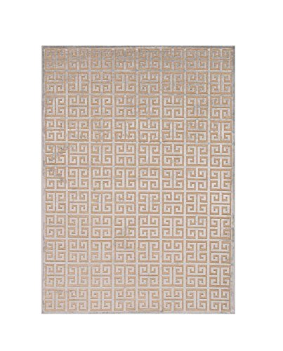 Diva At Home 2' x 3' Powder Blue and Wheat Brown Transitional Greek Area Throw Rug (Transitional Rug Wheat)