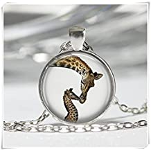 Mama and Baby Animal Jewelry Wildlife Safari Nature Art Pendant Giraffe Necklace