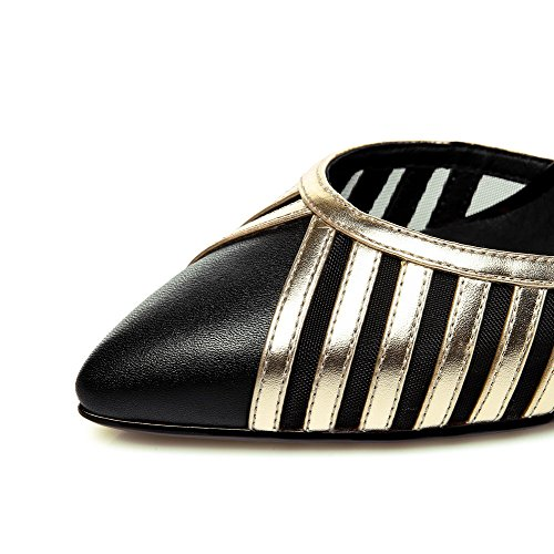Pointed Heels Sandals Assorted AmoonyFashion Womens Color Oxhide High Gold Buckle Toe ZAw6tYqa