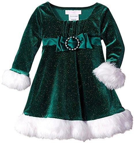 Bonnie Baby Baby Girls' Sparkle Stretch Velvet Santa Dress with Satin Bow, Red 24 Months ()