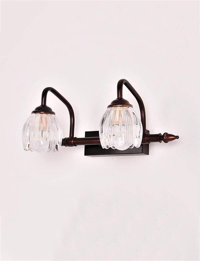 壁取り付け用燭台照明 バスミラーランプ - コンチネンタルアイアンガラスシェードクラシックミラーフロントライトバスルームミラーキャビネットライト - メイクアップミラーヘッドライト (Color : 37cm) B07NWSP13B 37cm
