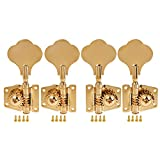 Kmise 4 String Bass Guitar Tuners Tuning Pegs Keys Machine Heads Open Back Gear 2L2R Inline Gold 1 Set