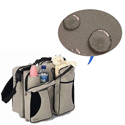 Bolsa de pañales de viaje 3en 1, bolsa multiuso, cambiador de bebé, diseño de cama de bebé, para carrito o cuna caqui caqui