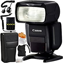 Canon Speedlite 430EX III-RT 13PC Accessory Kit (International Version, No Warranty) - Includes Manufacturer Accessories + 4 AA Batteries with Charger + 180° Rotating Flash Bracket + MORE