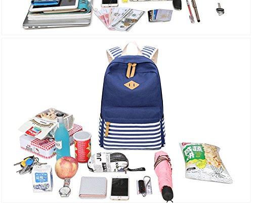 Mochila Red con set Pack hombro niñas Lady Bookbag escolar Back Mochila adolescentes Mujeres las estudiantiles Lienzo bandas el de azul 3pcs para Baglaptop FwBZqxB