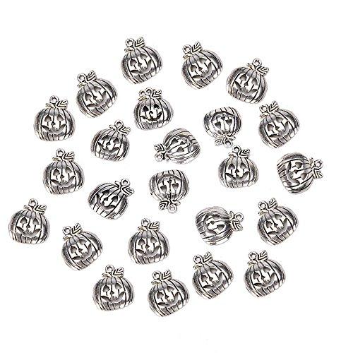 BinaryABC Halloween Pumpkin Charm Pendant,for Crafting Jewelry Making Accessory 50pcs (Antique Silver)