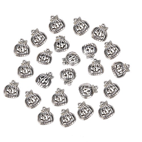 - BinaryABC Halloween Pumpkin Charm Pendant,for Crafting Jewelry Making Accessory 50pcs (Antique Silver)
