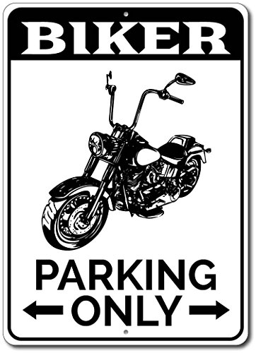 Biker Parking Only Metal Sign  Personalized Motorcycle Lover Gift  Custom Bike Rider Man Cave Garage Decor   10 X14  Quality Aluminum Sign