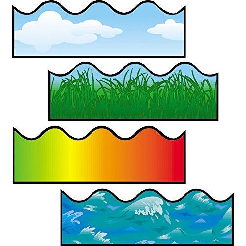 Carson-Dellosa Scalloped Border Sets - Cloud, Grass, Ocean Waves, Rainbow - Card Stock - Multicolor Scalloped Border Sets