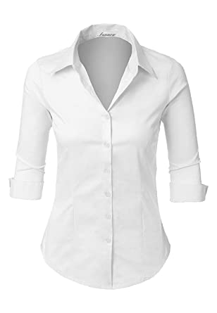 b36fb03c0032 SUNNOW Women's Roll Up White Tailored 3/4 Sleeve Button Down Shirt with  Stretch