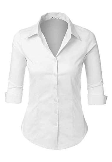 41ad8150e40 SUNNOW Women s Roll Up White Tailored 3 4 Sleeve Button Down Shirt with  Stretch at Amazon Women s Clothing store