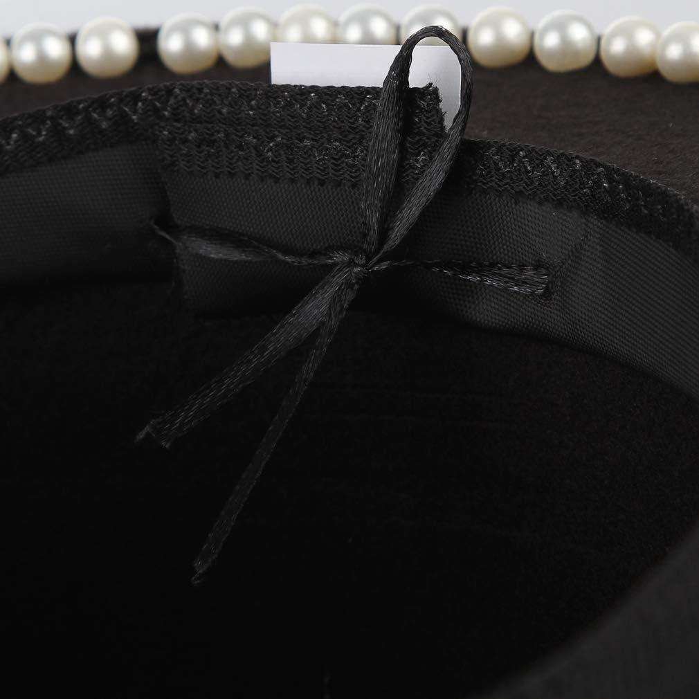 GEMVIE Women Vintage Wool Bowler Boater Hat Elegant Pearls Flat Top Wool Fedora Church Derby Hat