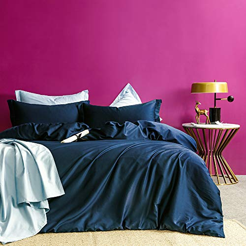 MILDLY Solid Color Moon Blue Duvet Cover Sets Luxury Queen Comforter Cover with 2 Pillowcases 100% Egyptian Cotton (No Comforter)