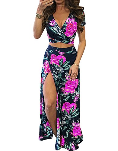 Women Floral Print Short Sleeve Crop Top Side Split Maxi Skirt Two Pieces Set Rose Red S ()