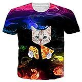 Alistyle Mens 3D Cat Printed Pattern Short Sleeve Shirt Cool Tees XXL