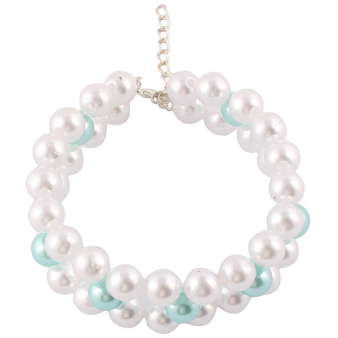 1Pc White,Silver Tone Metal Beads Linked Rhinestone Inlaid Heart Shaped Pendant Decor Dog Necklace