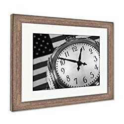 Ashley Framed Prints Grand Central Clock, Wall Art Home Decoration, Black/White, 34x40 (Frame Size), Rustic Barn Wood Frame, AG5413213