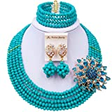 laanc 5 Rows Fashion Lady Jewellery Multicolor Crystal Nigerian Bridel Wedding African Bead Jewelry Sets
