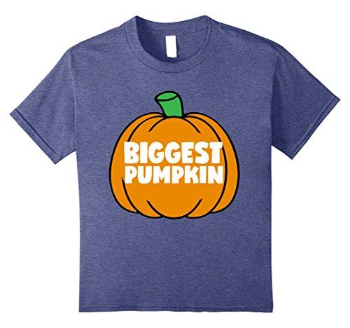 Kids Spooky Halloween Shirts Biggest Pumpkin Family Siblings Tee 12 Heather Blue - Sibling Halloween Costumes
