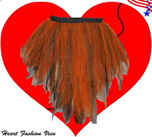 Neon Orange Black Bustle Peacock Seven Layer Trashy Tutu Skirt Halloween -