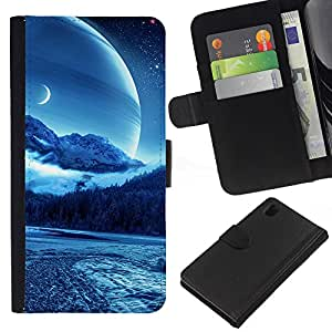 KingStore / Leather Etui en cuir / Sony Xperia Z1 L39 / Sci Fi Luna Planet