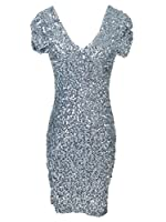 Anna-Kaci Women's S/M Glitzy Glam All over Sequin Ruched Sleeve Dress