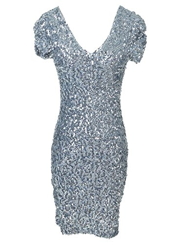 Anna-Kaci Womens Sexy Sparkly Glitter Sequin V Neck Bodycon Mini Party Dress, Silver Small