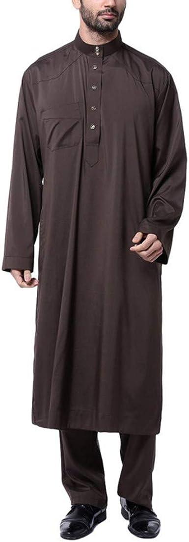 Kaftan para Hombres Ropa Musulmana - Vestido Abaya Dubai Maxi Largo Manga Larga Jalabiya Camisa Arabe