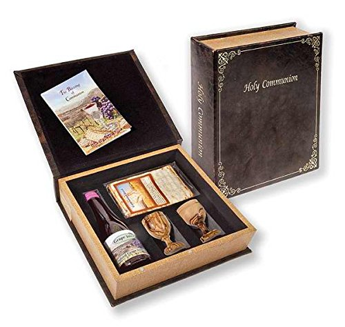 Holy Land Gifts 92202 Communion-Set-Grape Juice, Matzah Bread & 2 Olivewood Cups In Box