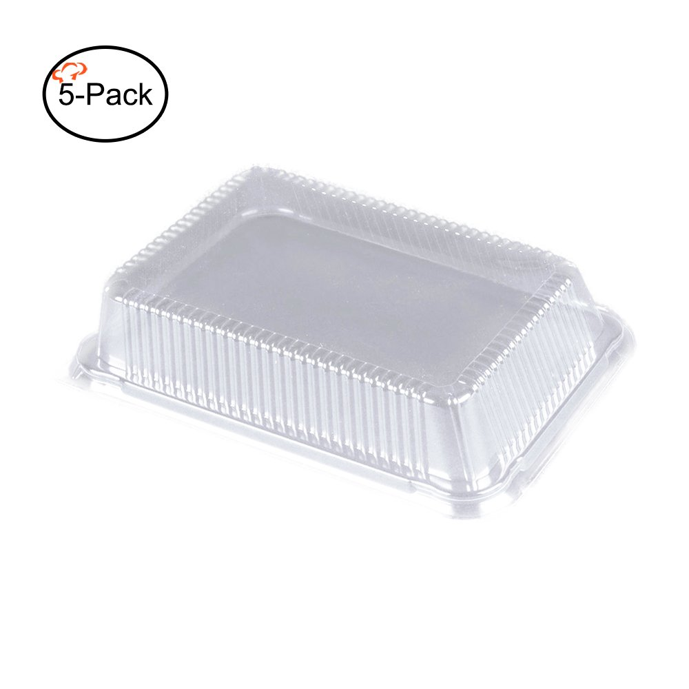 Tiger Chef Plastic Dome Lids for Half Size Aluminum Foil Pans 9'' X 13'' (Pack of 5)