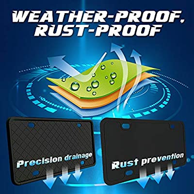 [Pack of 2pcs] Silicone License Plate Frame, Weather-Proof, Rust-Proof, Rattle-Proof. (Black): Automotive