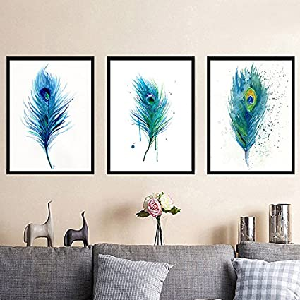 Watercolor Peacock Tail Feather Canvas Print, Wall Art, Poster, Airbnb Home  Decor.