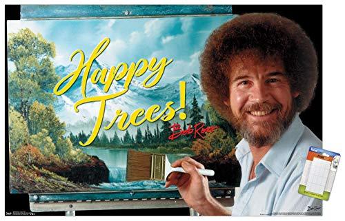 Trends International Bob Ross-Happy Trees Wall Poster, 14.725″ x 22.375″, Premium Poster & Mount Bundle