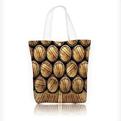 Decor Wall of Wooden Seem Barrels Cellar Storage Winery Rum Container Stack Broen Shoulder Bag Purses For Men And Women Shopping Tote W16.5xH14xD7 INCH ()